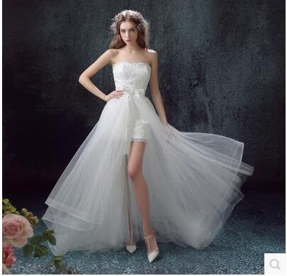 新款蟬翼煙紗蕾絲抹胸前短後長可拆卸拖尾新娘婚紗禮服YY1899『毛菇小象』