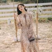 春秋2020款腳踝長裙子仙女超仙森系法式復古長袖雪紡碎花洋裝女 每日特惠