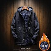 秋冬加厚中長款牛仔風衣男潮胖寬鬆大碼加棉棉衣學生連帽保暖外套