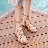 羅馬夾趾涼鞋女夏季風平底鞋百搭休閒軟底海邊度假沙灘鞋【繁星小鎮】