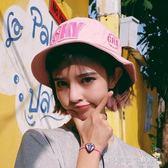 韓版字母粉色漁夫帽子女夏天盆帽潮男出游遮陽帽可折疊戶外沙灘帽