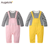 長袖連身衣 假吊帶 條紋 男寶寶 女寶寶 爬服 哈衣 Augelute Baby 70064