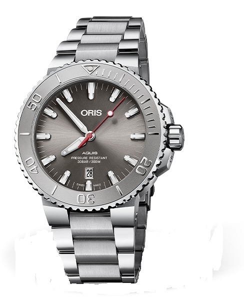 Oris Aquis RELIEF時間之海潛水300米機械錶(0173377304153-0782405PEB)灰面/43.5mm