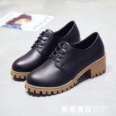 馬丁靴女英倫風學生韓版百搭小皮鞋2019新款夏季粗跟單鞋靴子短靴    米希美衣