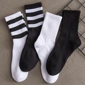 中筒襪 襪子男中筒夏季薄款純色長襪韓版長筒高幫潮流運動黑色條紋籃球襪