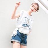原宿風背心女夏韓版寬鬆無袖上衣破洞t恤酷