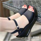 雪地意爾康夏一字拖露趾坡跟高跟防滑厚底鬆糕搭扣女涼鞋 概念3C旗艦店
