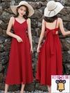 洋裝 沙灘裙2020新款三亞海邊度假裙子套裝露背心機紅色洋裝女夏超仙 叮噹百貨