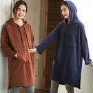 洋裝-純棉大口袋連帽厚棉衣裙/設計家SQ204