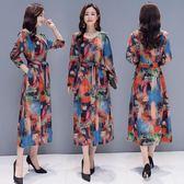 秋季文藝大尺碼女裝中長款抽象印花連身裙長袖系帶打底衫洋裝