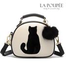 側背包 可愛萌系貓咪毛球吊飾雙層拉鍊小圓包 3色-La Poupee樂芙比質感包飾 (現貨+預購)