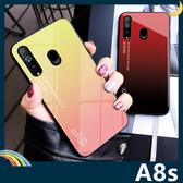 三星 Galaxy A8s 漸變玻璃保護套 軟殼 極光類鏡面 創新時尚 軟邊全包款 手機套 手機殼