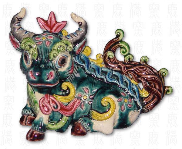 鹿港窯-居家開運商品-台灣國寶交趾陶S十二生肖-牛◆附精美包裝◆免運費送到家