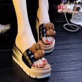 夏季女涼拖鞋高跟卡通可愛小熊鬆糕拖鞋外穿室內軟底防滑厚底拖鞋『潮流世家』