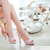 網紅女鞋子2020夏季新款韓版百搭魚嘴涼鞋一字扣細跟防水臺高跟鞋  雙12購物節