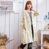 【Tiara Tiara】激安 拼貼風方格排釦綁帶長罩衫洋裝(黃)