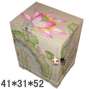 田園新古典 漆器 手繪 單門 床頭櫃