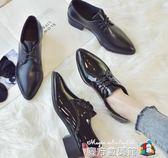 英倫風ins小 鞋女學生 秋季新款韓版百搭ulzzang單鞋粗跟女鞋  魔方數碼館