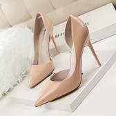 高跟鞋 歐美裸色漆皮側空尖頭細跟淺口女單鞋紅底婚鞋