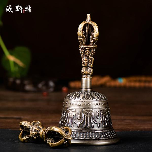 歐斯特 藏傳佛教供具 尼泊爾手工青銅五股鈴杵 金