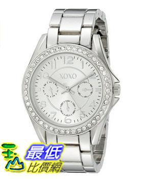 [美國直購] 女錶 XOXO Women s XO172 Rhinestone-Accented Silver-Tone Boyfriend Watch