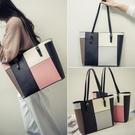 包包2021新款女包日韓版時尚簡約托特包休閒手提包撞色單肩包大包   米娜小鋪