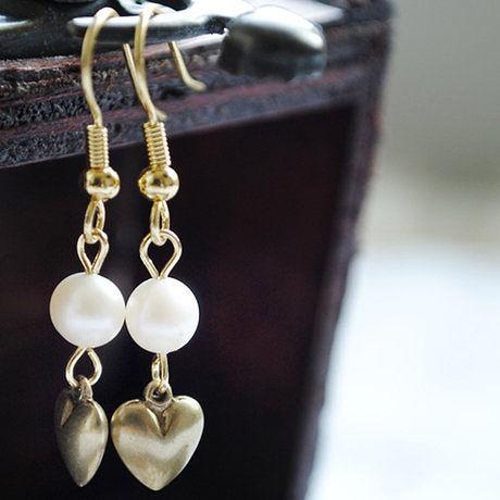 黃銅實心耳環 女 甜美可人 淡水珍珠