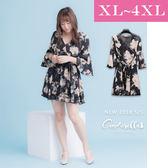 大碼仙杜拉- 春夏深V花朵雪紡洋裝/連身裙 XL-4XL碼 ❤ 【SUC6294】(預購)