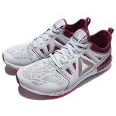 【六折特賣】Reebok 慢跑鞋 ZPrint 3D 灰紫 輕量舒適 大LOGO 路跑專門 女鞋 【PUMP306】 AR0661
