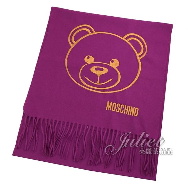 茱麗葉精品【全新現貨】MOSCHINO 30627 M2094 泰迪熊臉羔羊毛流蘇圍巾.紫