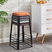 凳子 凳子家用餐桌凳鐵藝簡約輕奢鋼筋凳可摞疊矮凳網紅小板凳加厚圓凳TW【快速出貨八折下殺】
