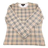 【奢華時尚】BURBERRY 駝色格紋純棉圓領女用M號上衣(全新未使用)#24029