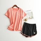 運動套裝 小雛菊速幹衣運動風套裝女女夏季健身瑜伽服寬鬆t袖短褲兩件-Ballet朵朵