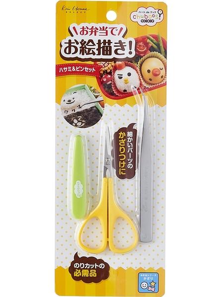 日本貝印KAI 料理小剪刀+夾子 日本製 海苔裝飾夾 飯糰便當裝飾輔助造型 小鑷子【FG5188】