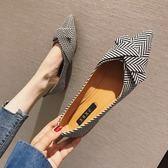 歐美風春夏季大碼新款女鞋子布面蝴蝶結淺口尖頭平跟平底單鞋 衣間迷你屋