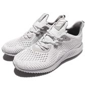 adidas 慢跑鞋 Alphabounce AMS M 白 灰 無縫設計 鯊魚鰓 運動鞋 男鞋【PUMP306】 BW0427