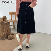 中大尺碼 百搭A字排釦長裙~共兩色 - 適XL~4L《 69026HH 》CC-GIRL