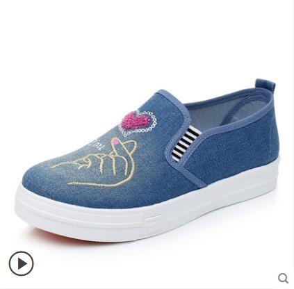 布鞋女鞋牛仔帆布鞋平底休閑鞋懶人一腳蹬單鞋