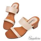 訂製鞋 簡約寬版粗跟拖鞋-卡其色下單區...