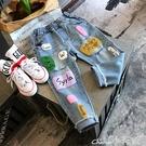 女童牛仔褲春秋新款2020中小童街頭撞色兒童長褲女童彩色字母寬鬆牛仔褲