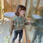 女童格子襯衫韓版兒童襯衣寶寶時尚長袖上衣【淘夢屋】