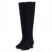MICHELLE PARK 時髦顯瘦美腿彈力絨質及膝上靴長靴-黑色