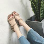 涼鞋粗跟涼鞋女夏季新款韓版百搭中低跟一字扣帶簡約露趾羅馬女鞋 印象部落