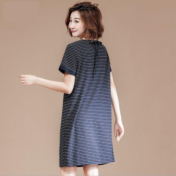 中大尺碼洋裝 針織藍白條紋A字短袖圓領連衣裙  XL-5XL #lg19603 ❤卡樂❤