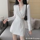 法式顯瘦白色裙子女秋裝2021新款氣質長袖襯衫洋裝鏤空V領A字裙 蘿莉新品