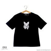 【INI】刺繡休閒、兔兔刺繡可愛氣息上衣.黑色