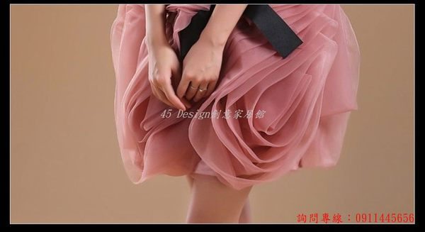 (45 Design)  客製化 定製款7天到貨   新娘婚紗禮服 藍色伴娘服姐妹服 短演出服 外單