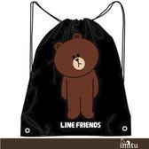 imitu 【LINE FRIENDS】MIT束口後背袋(黑色_無辜熊大)