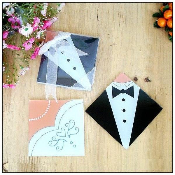 新郎新娘禮服杯墊 (兩入裝) 婚禮小物 送客小禮 婚禮佈置/組