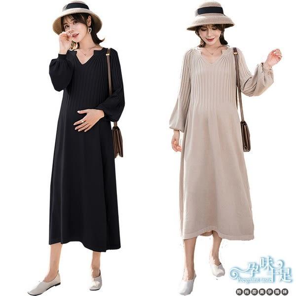 現+預 小V領口坑條澎澎袖針織孕婦洋裝 四色 【CRH815302】孕味十足。孕婦裝